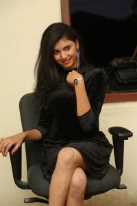Tick Tock Actress Mounika in Black Dress Stills