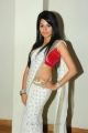Telugu Heroine Amrutha Hot in White Saree with Red Blouse