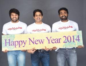 Arya, Shaam, Vijay Sethupathi in Poramboku Team New Year 2014 Wishes Photos