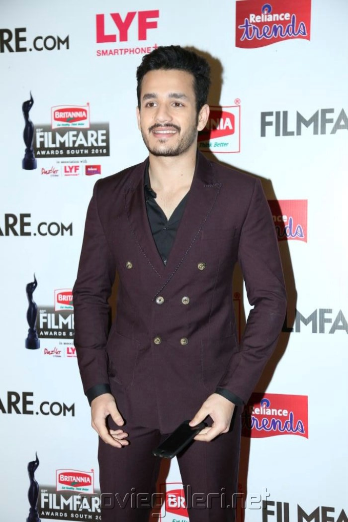 Akhil Akkineni @ 63rd Filmfare Awards South 2016 Red Carpet Stills