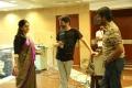 Nadhiya, Trivikram Srinivas, Natraj @ A Aa Movie Working Stills