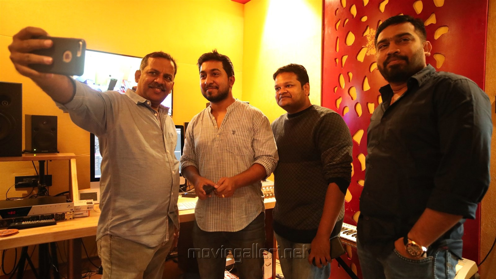 Thamira, Vineeth Seenivasan, Ghibran @ Aan Devathai Movie Song Recording Photos