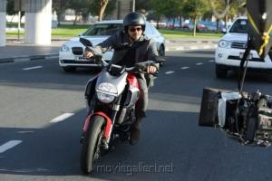 Ajith Kumar Rides Ducati EvO 848 Superbike in Aarambam Movie Stills