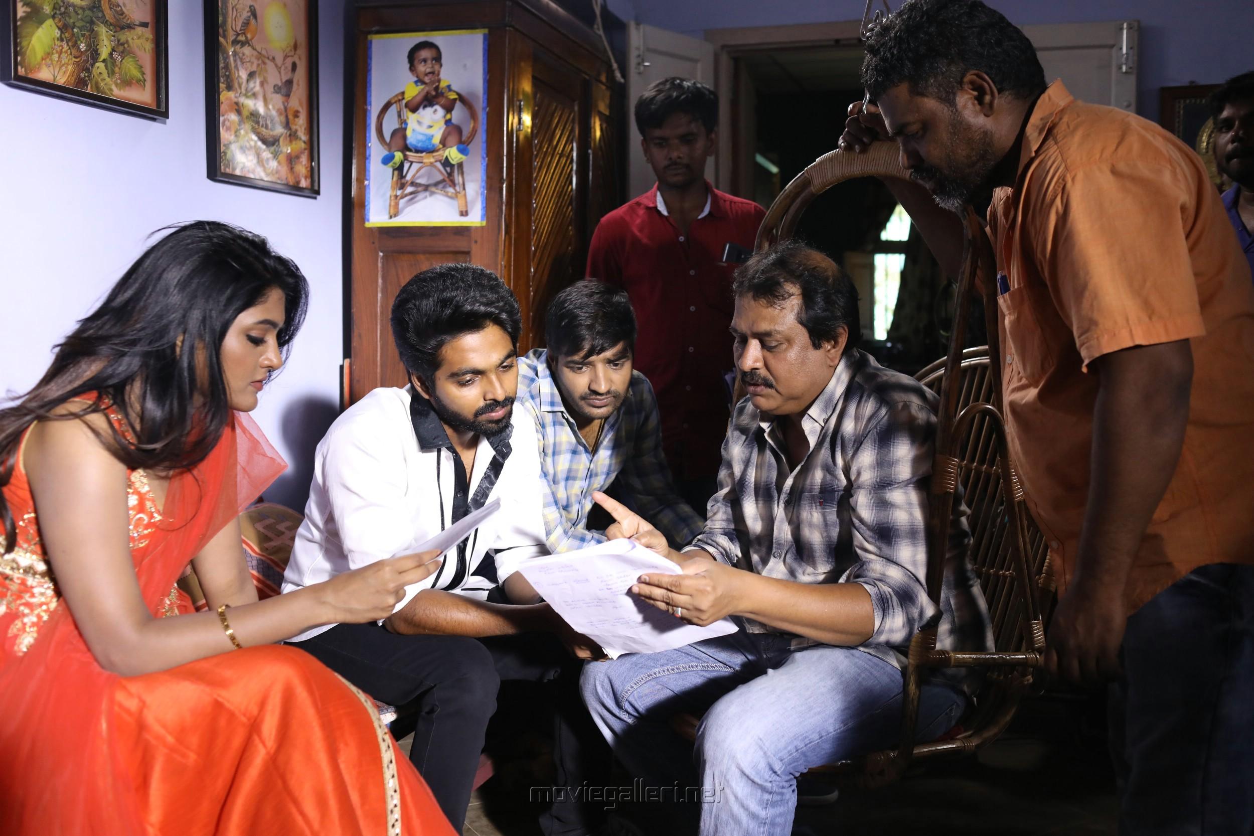 Eesha, GV Prakash, Ezhil @ Aayiram Jenmangal Movie Working Stills