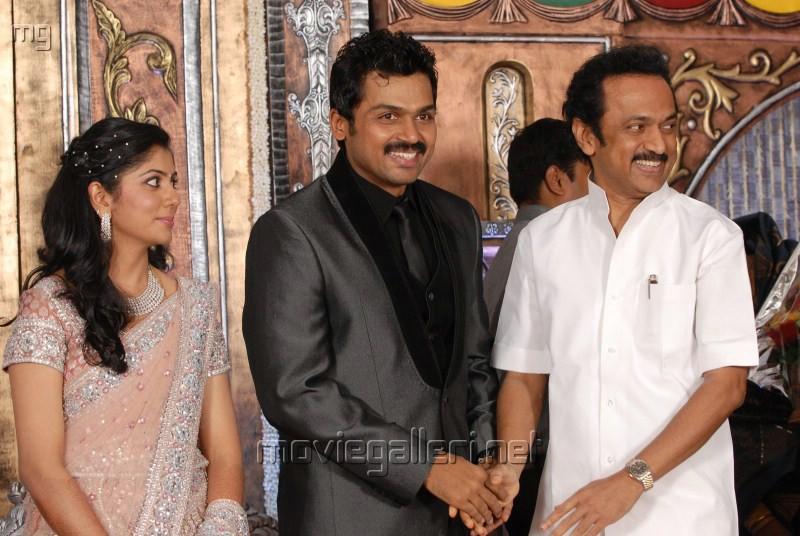 MK Stalin @ Actor Karthi Reception Photos