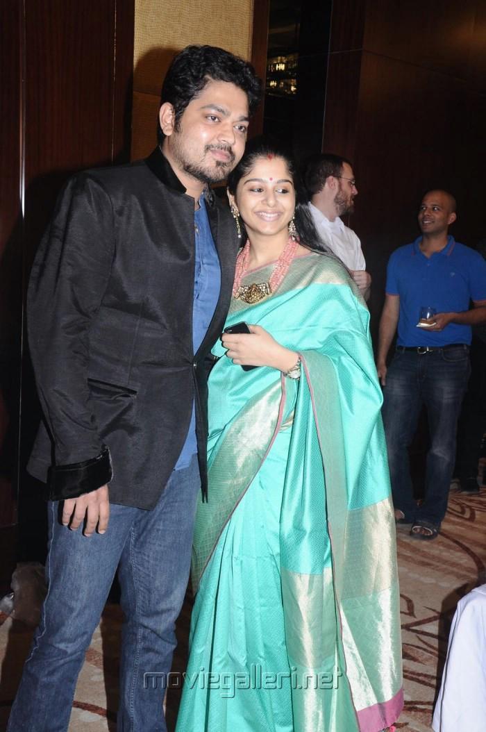Actor Sakthi Vasu with wife @ Krishna Kulasekaran Wedding Reception ...