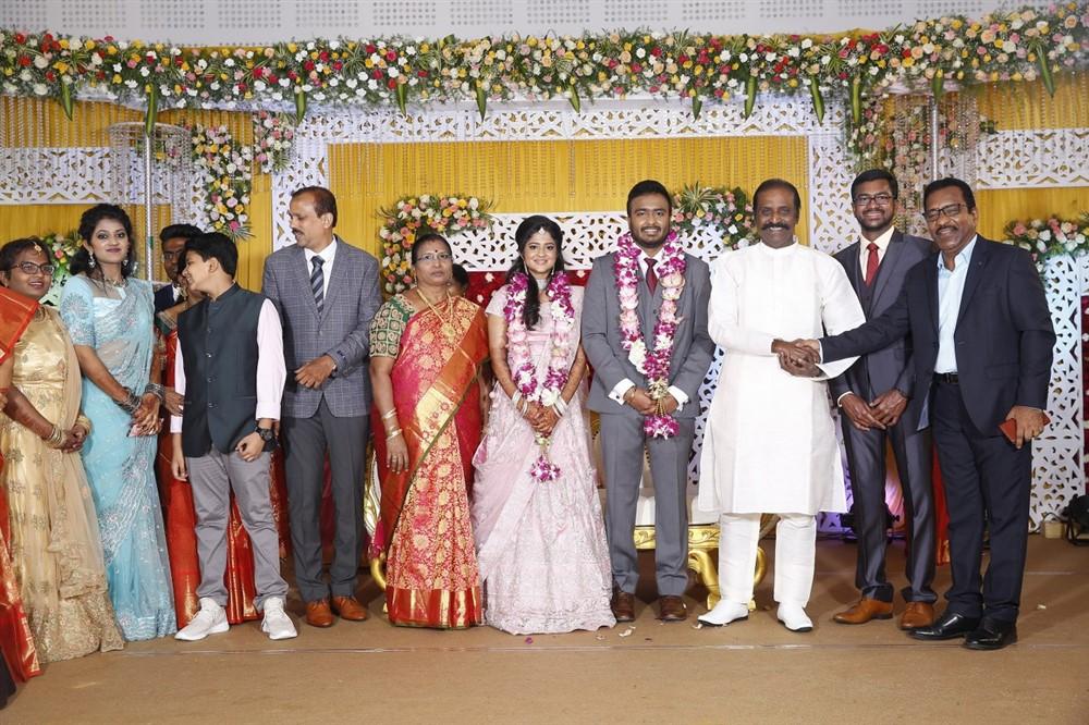 Vairamuthu @ Charlie elder son Adhithiya Charlie Amritha Wedding Reception Stills