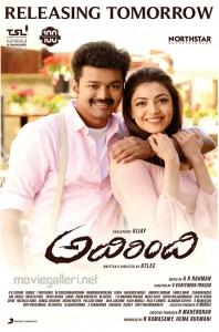 Vijay Kajal Agarwal Adirindi Movie Release Tomorrow Posters