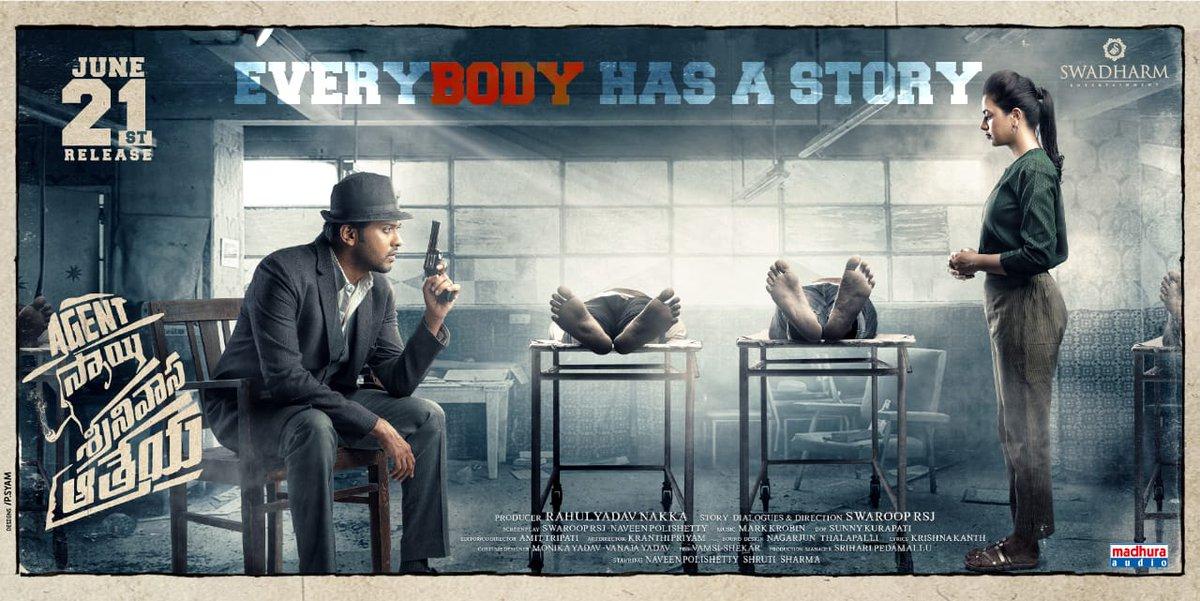 Naveen Polishetty, Shruti Sharma in Agent Sai Srinivasa Athreya Movie Release Posters