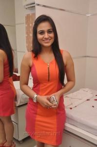 Aksha Pardasany Hot Photos in Dark Orange Red Short Dress