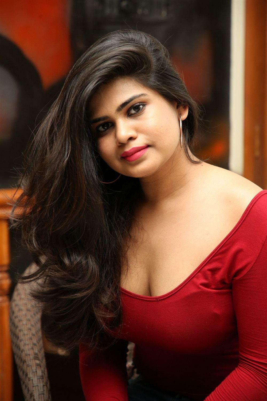 Telugu Actress Alekhya Red Dress Photos