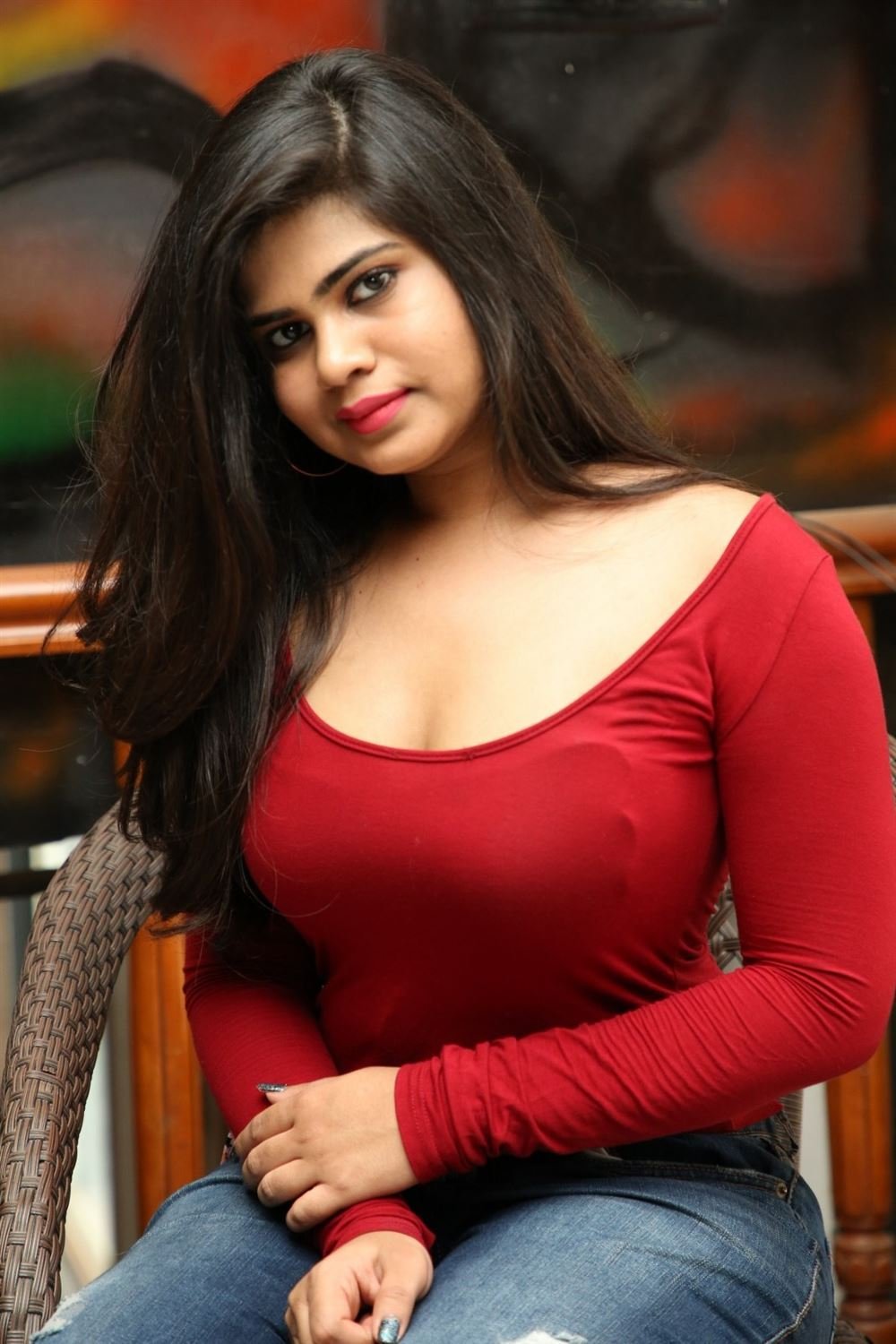 Actress Alekhya Hot Photos in Red Dress