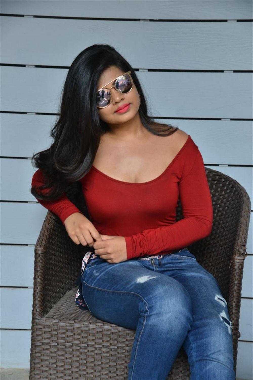 Actress Alekhya Hot Photos in Red Dress