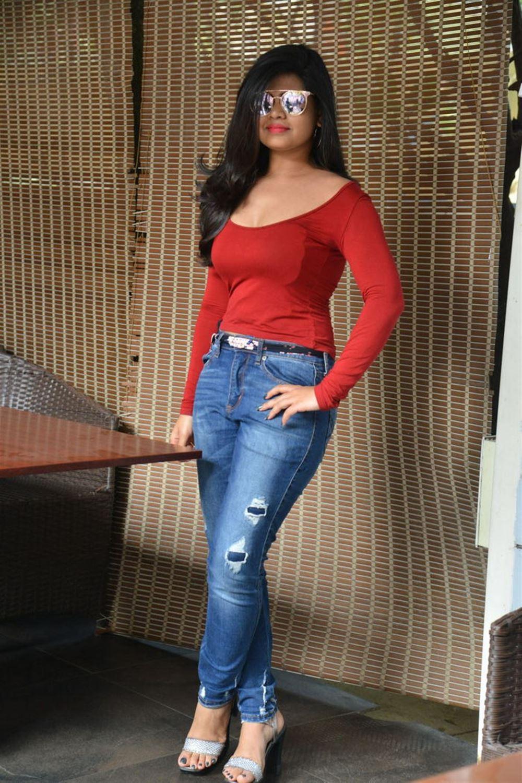 Actress Alekya Angel Red Dress Hot Photos