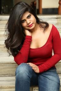 Actress Alekhya Kondapalli Hot Photos in Red Dress
