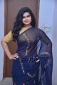 Actress Alekhya Kondapalli Navy Blue Saree Pics @ Samajaniki Hecharika Movie Opening