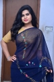 Samajaniki Hecharika Actress Alekhya Kondapalli Navy Blue Saree Pics