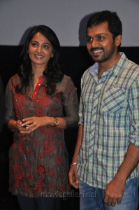 Anushka, Karthi at Alex Pandian Movie Press Show Stills