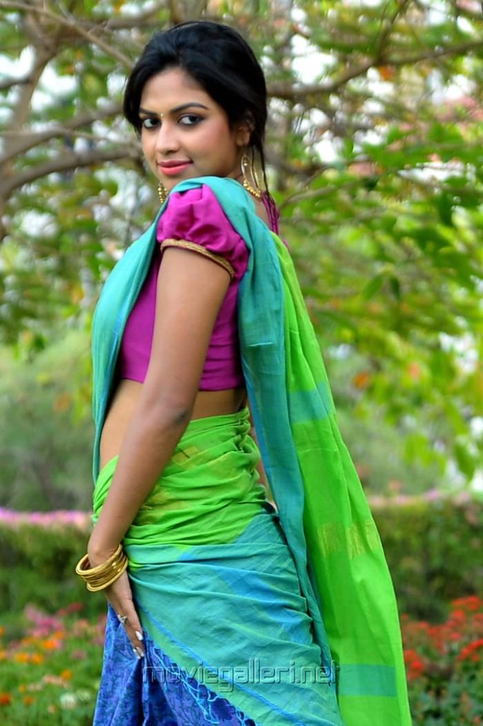 Actress Amala Paul in Half Saree with Ruffled Sleeves Saree Blouse