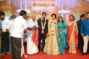 VS Raghavan, Shoba Chandrasekar @ Actress Amala Paul Director Vijay Wedding Reception Stills