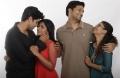 Adivi Sesh, Eesha Rebba, Srinivas Avasarala, Aditi Myakal @ Ami Tumi Movie Working Stills