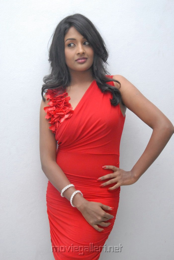 Actress Amitha Rao in Red Dress Photos