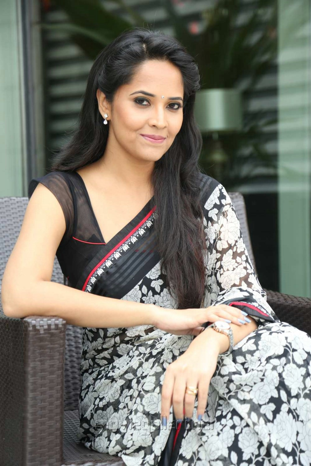 Actress Anasuya Black Saree Stills @ Shop CJ Telugu Channel Launch
