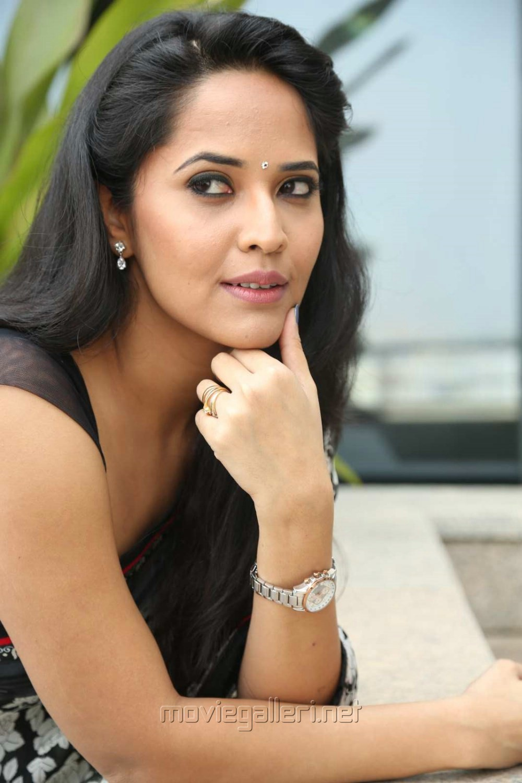Actress Anasuya Black Saree Stills @ Shop CJ Telugu Channel Launch