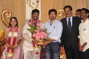 Vijay @ Anbalaya Prabhakaran Son Wedding Reception
