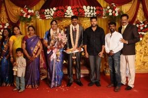 Jayam Ravi, Kanal Kannan @ Anbalaya Prabhakaran's Daughter Wedding Pictures