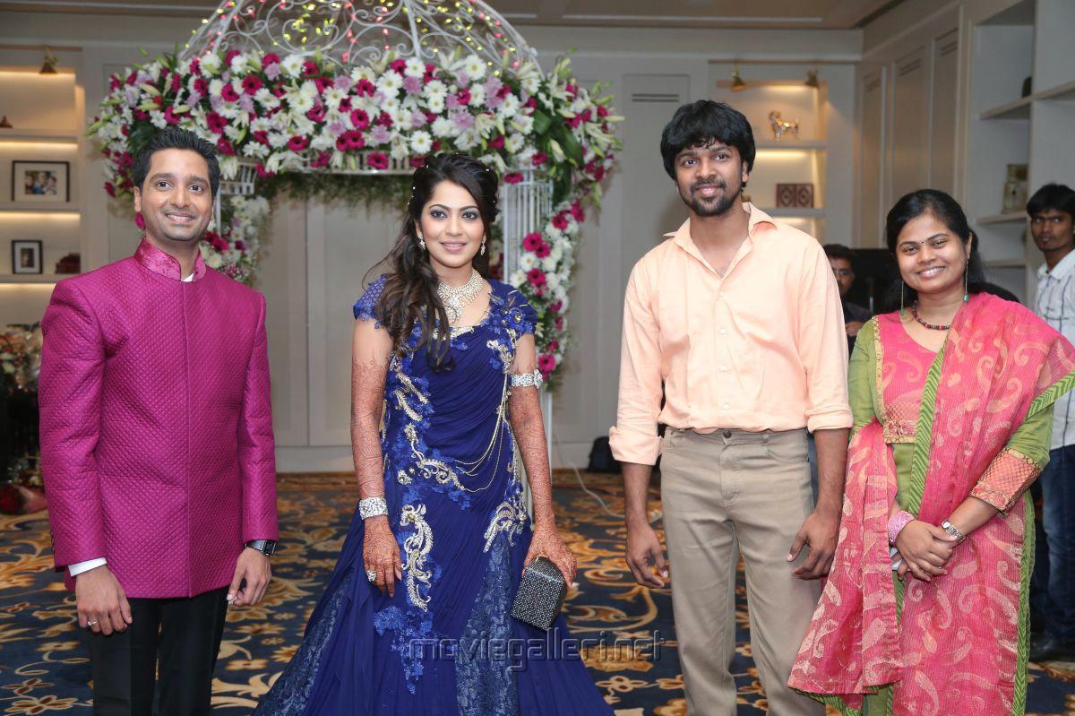 ... with wife Nandhini @ Anchor Ramya Aparajith Wedding Reception Stills