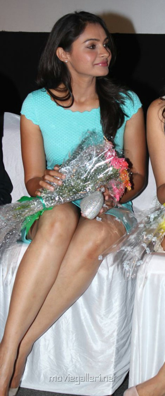 Actress Andrea Jeremiah Hot Stills in Cyan Mini Dress