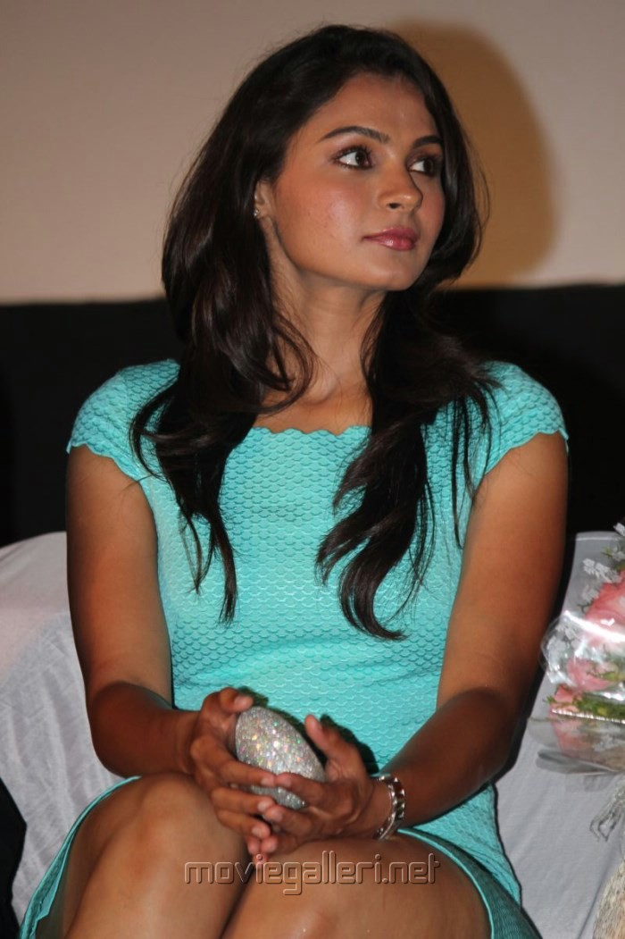 Tamil Actress Andrea Hot Stills in Cyan Mini Dress