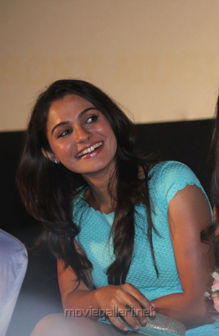 Actress Andrea Jeremiah Hot Stills in Cyan Mini Dress