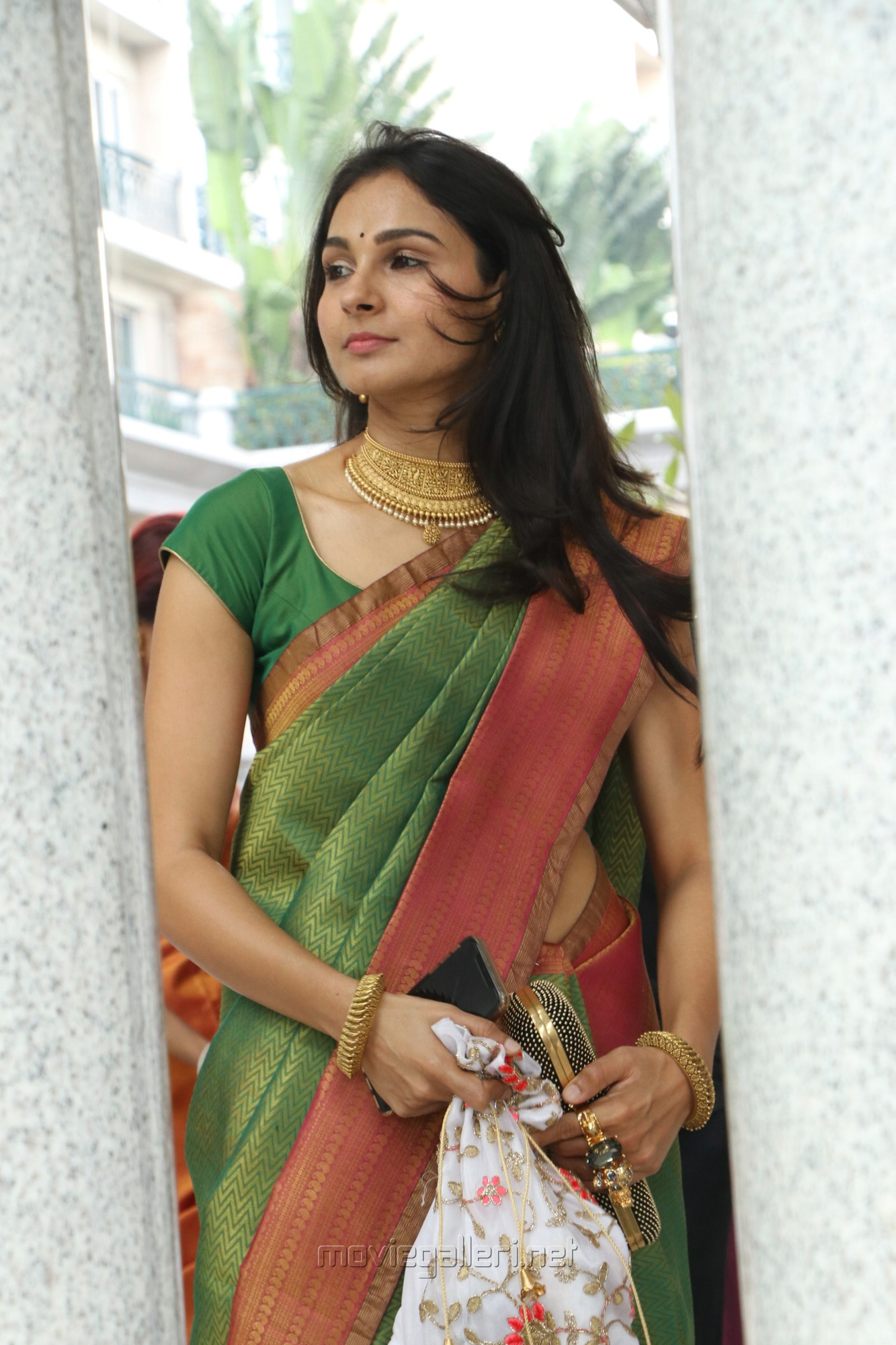 Actress Andrea Jeremiah Silk Saree Images HD