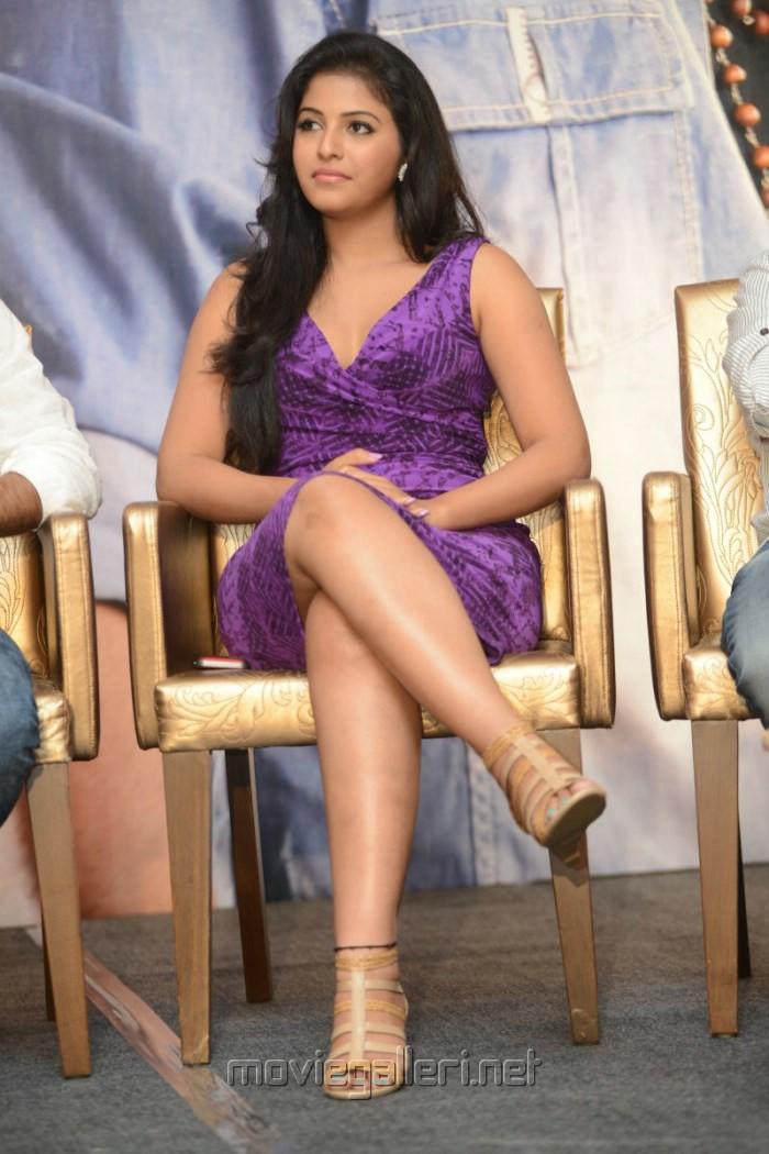 Actress Anjali Hot Leg Show Photos at Balupu Success Meet