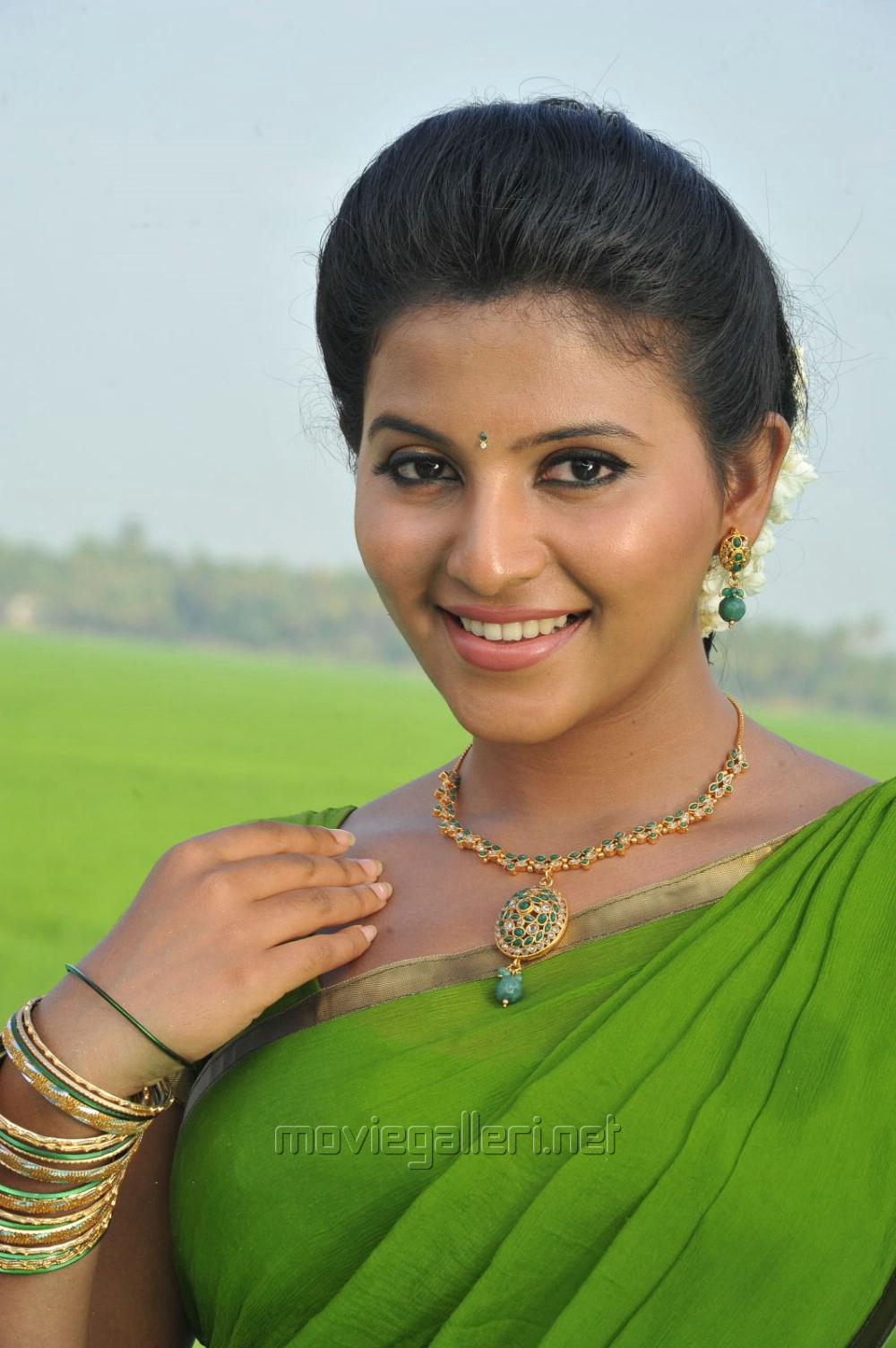 Tamil Actress Anjali Green Saree Photos In Masala Movie