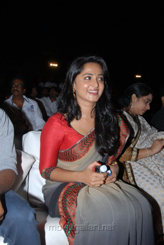 Actress Anushka New Saree Photos at Mirchi Audio Release