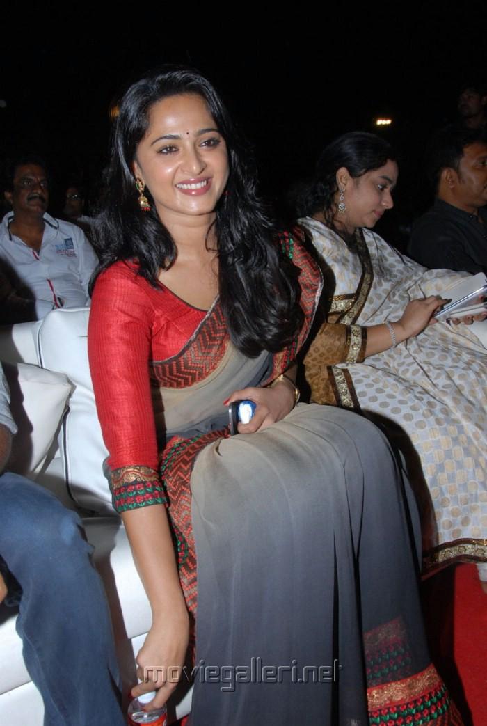 Actress Anushka Saree Photos at Mirchi Audio Release