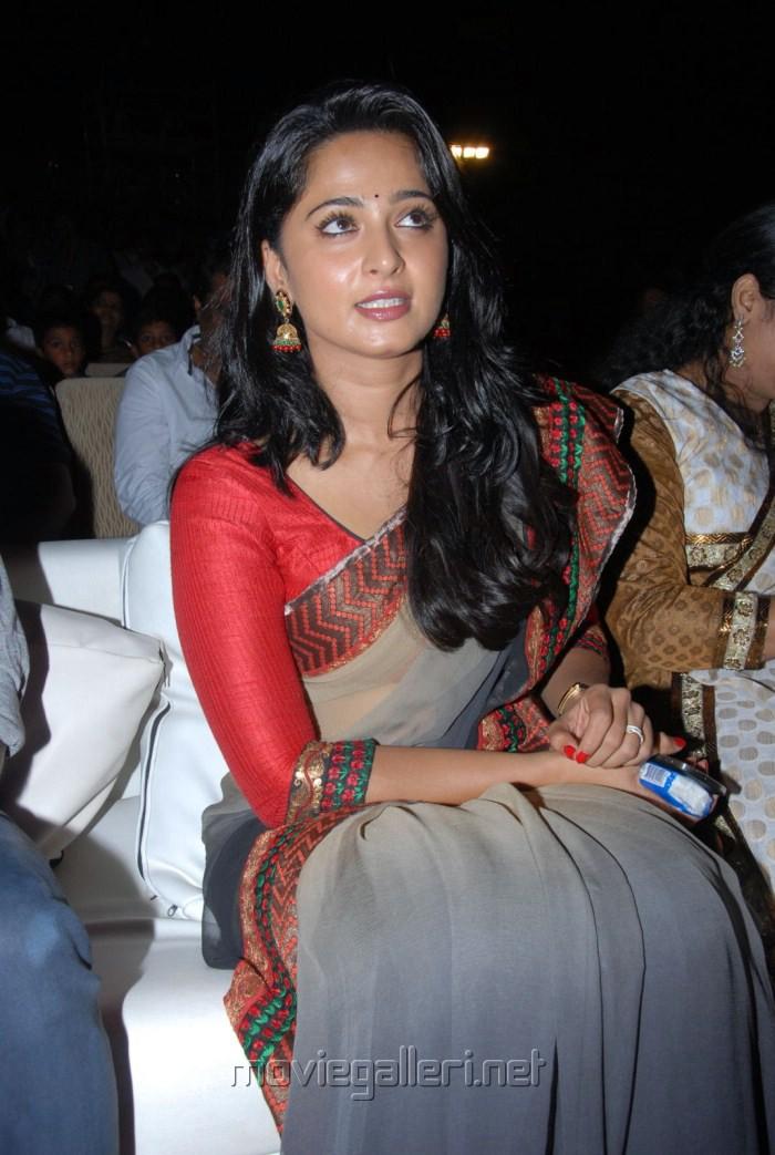 Beautiful Anushka Cute Saree Photos at Mirchi Audio Release