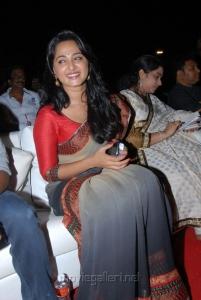 Actress Anushka Cute Saree Photos at Mirchi Audio Release