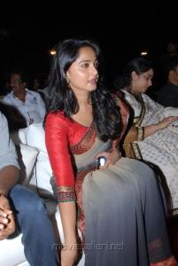 Actress Anushka New Saree Photos at Mirchi Movie Audio Release