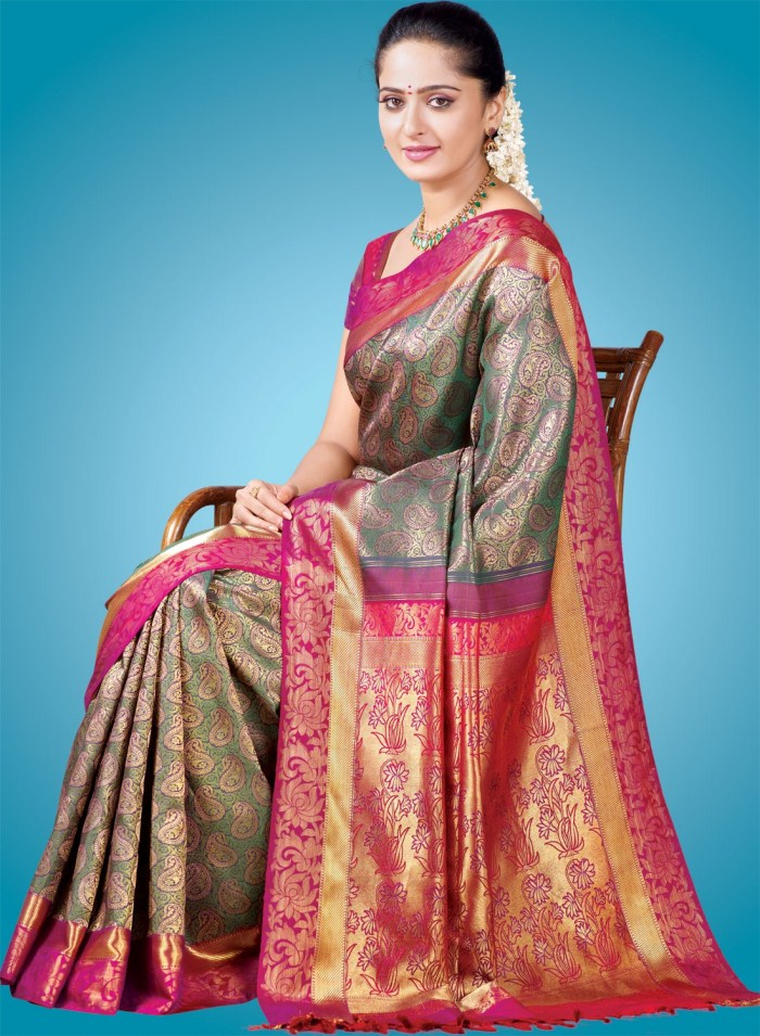 Anushka in Traditional Silk Saree Stills