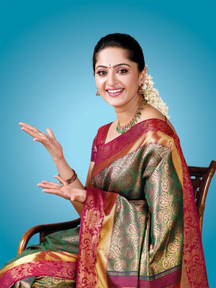 Anushka in Traditional Silk Saree Stills