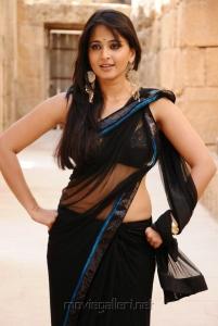 Anushka Hot Spicy Black Saree Stills