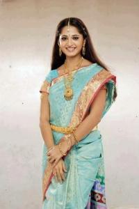 Anushka Shetty in Silk Saree Pics