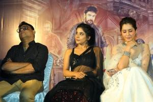 C Sathya, Sakshi Agarwal, Raashi Khanna @ Aranmanai 3 Press Meet Stills