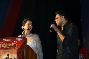 Raashi Khanna, C Sathya @ Aranmanai 3 Press Meet Stills