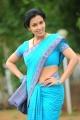 Flora Asha Saini Hot Stills in Blue Cotton Saree