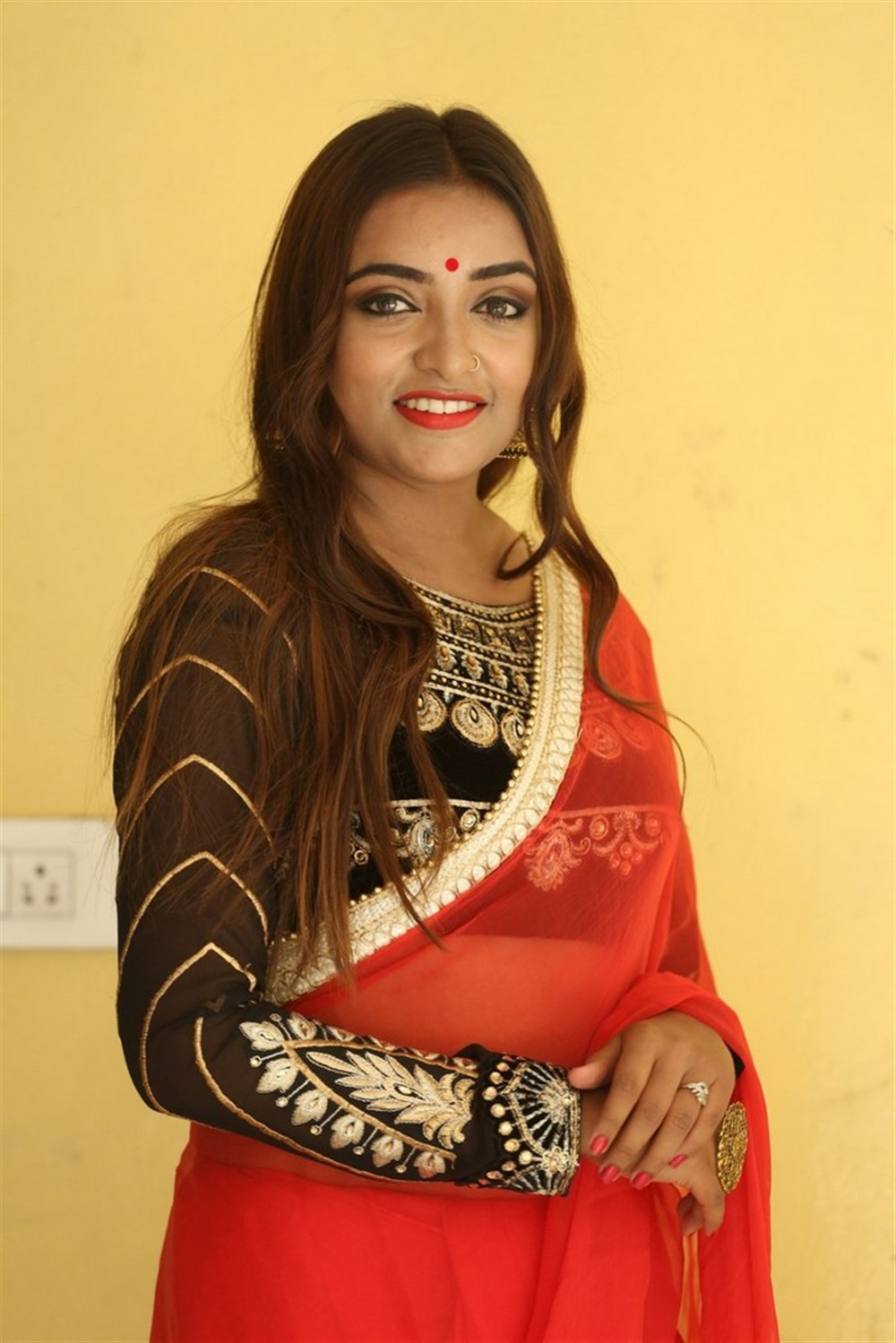 Actress Ashi Roy Saree Pics @ KS 100 Movie Audio Launch
